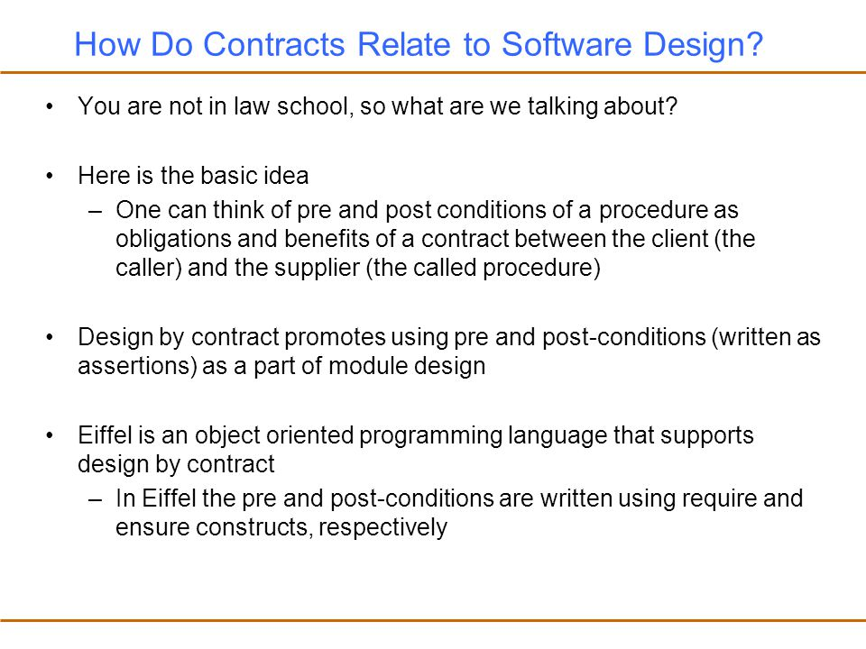 How Do Contracts Relate to Software Design