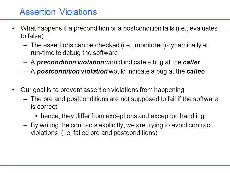 Assertion Violations What happens if a precondition or a postcondition fails (i.e., evaluates to false)