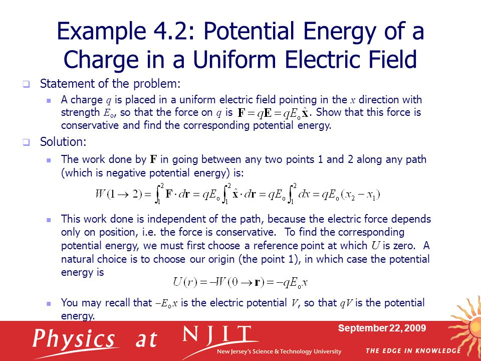 Example 4.2: Potential Energy of a Charge in a Uniform Electric Field
