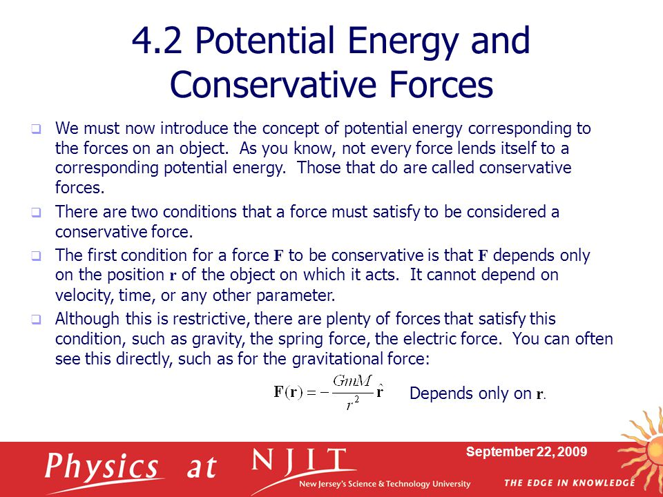 4.2 Potential Energy and Conservative Forces