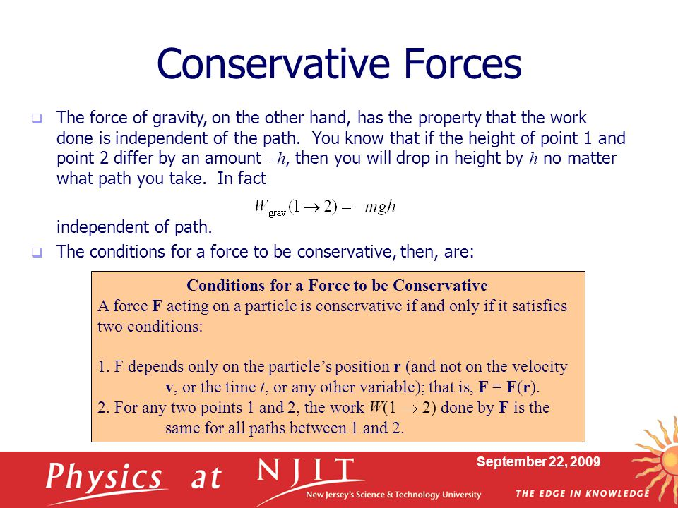Conditions for a Force to be Conservative
