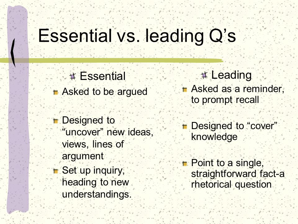 Essential vs. leading Q's