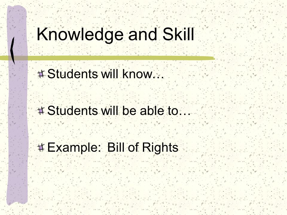 Knowledge and Skill Students will know… Students will be able to…