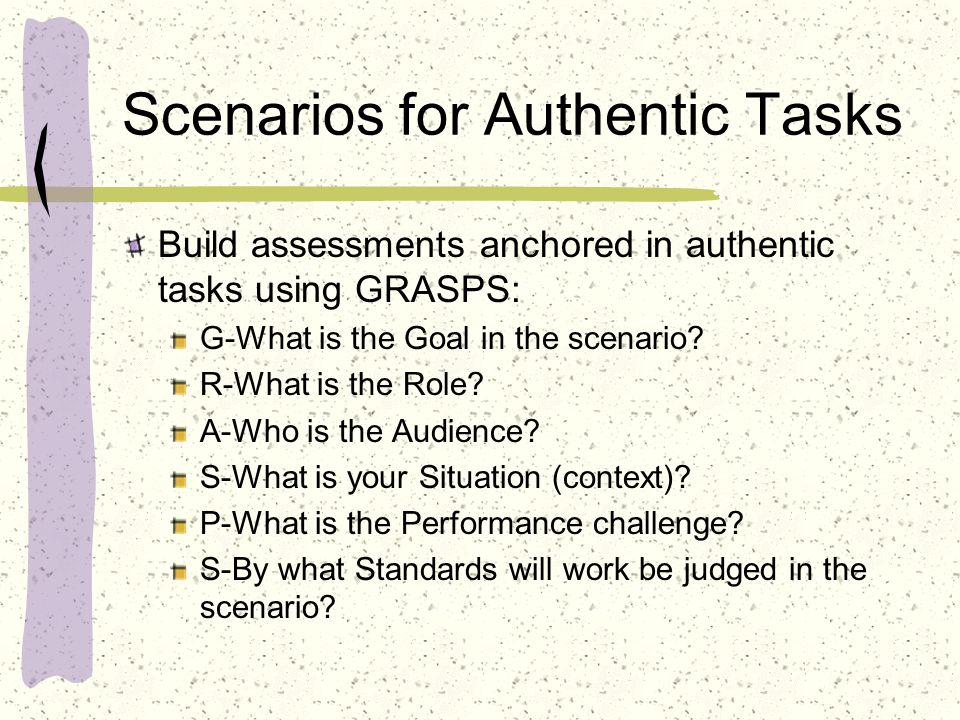 Scenarios for Authentic Tasks
