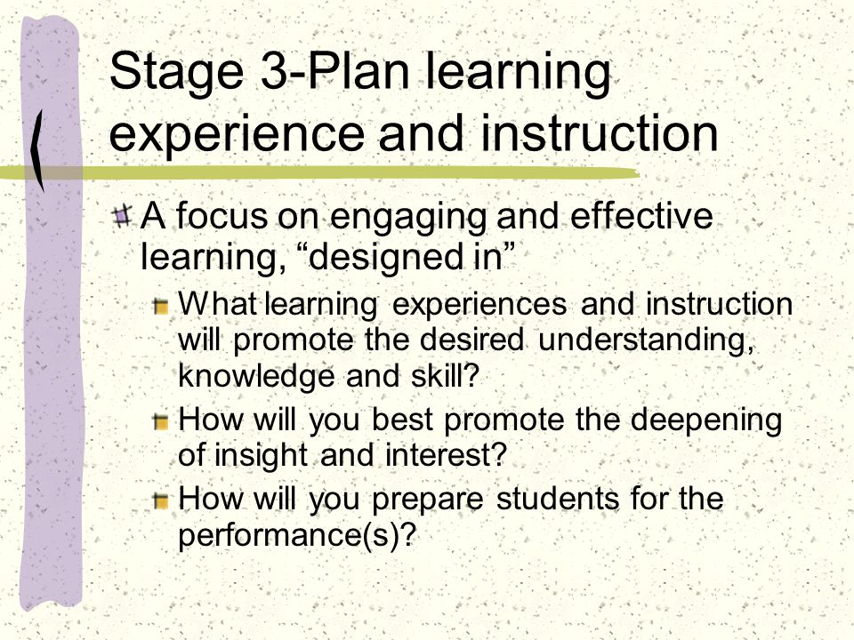 Stage 3-Plan learning experience and instruction