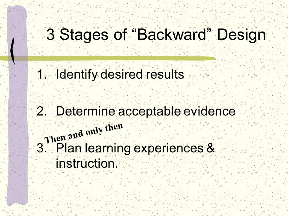 3 Stages of Backward Design