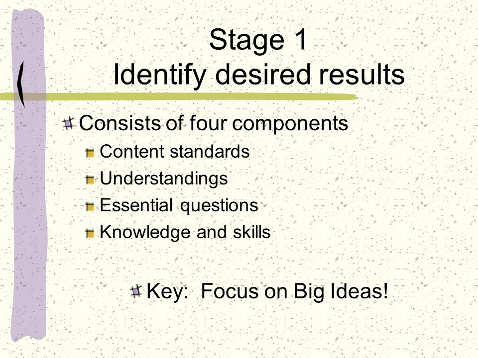 Stage 1 Identify desired results