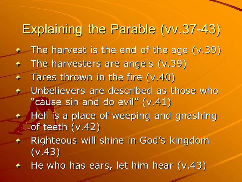 Explaining the Parable (vv.37-43)