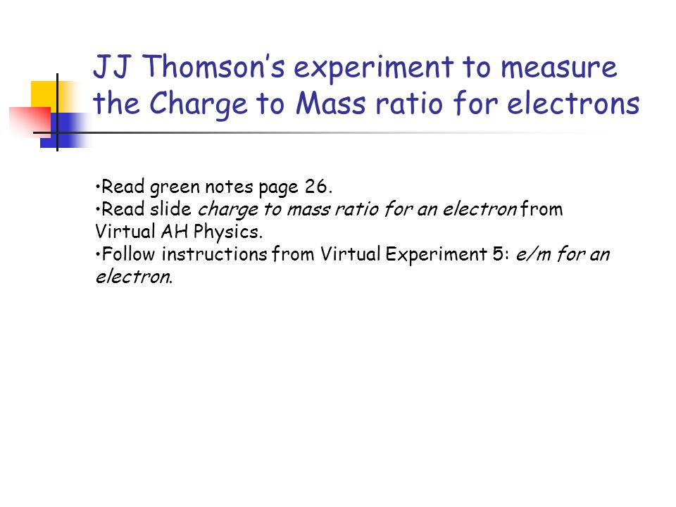 JJ Thomson's experiment to measure the Charge to Mass ratio for electrons