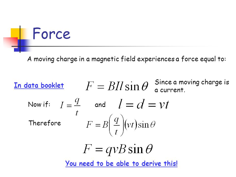 You need to be able to derive this!