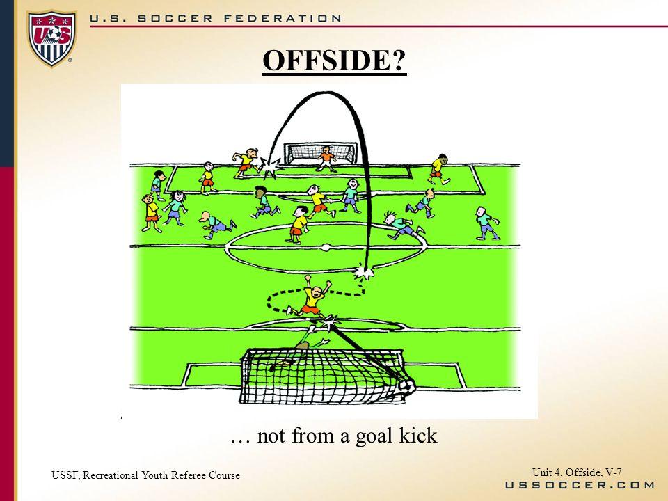 OFFSIDE … not from a goal kick Unit 4, Offside, V-7