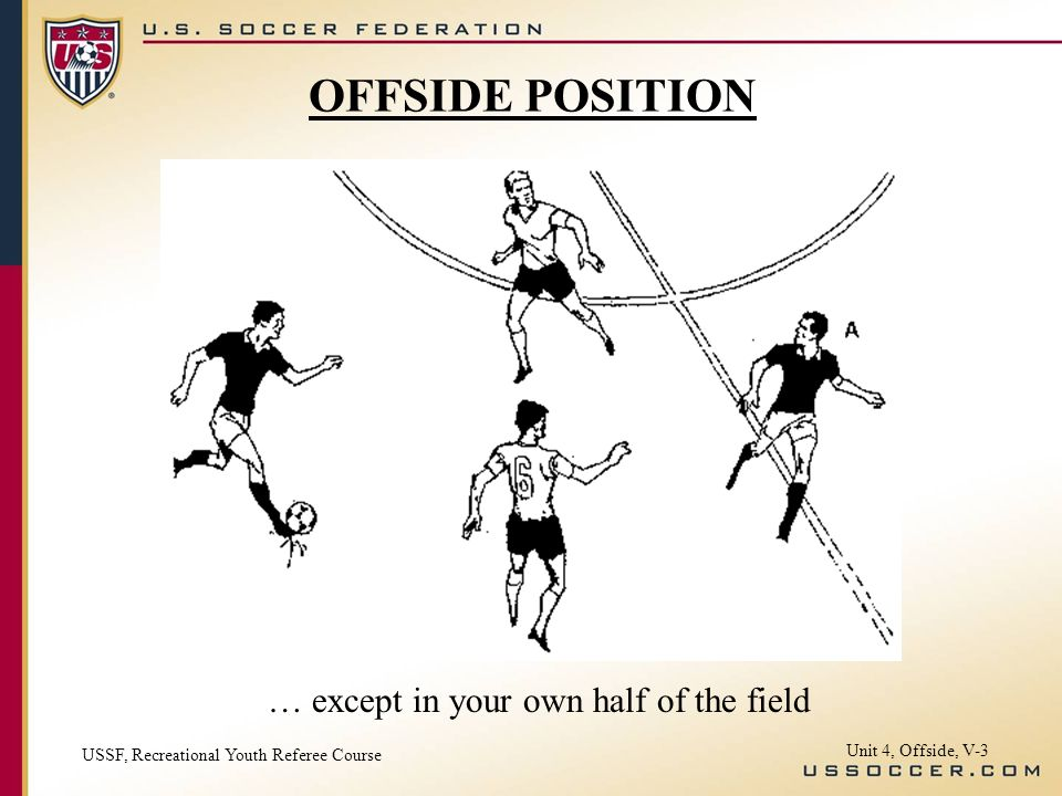 OFFSIDE POSITION … except in your own half of the field
