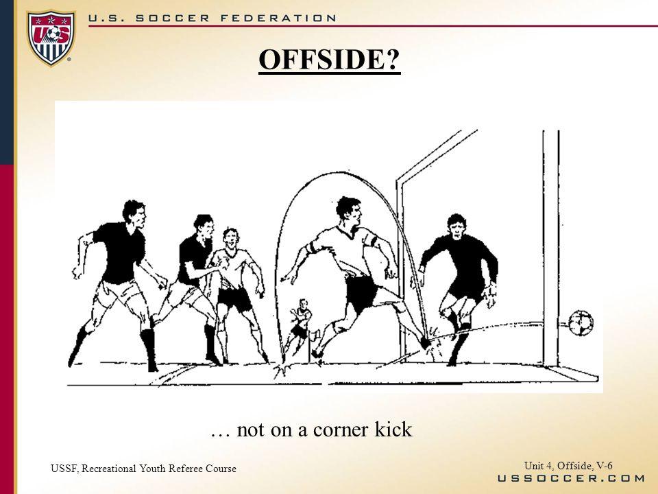 OFFSIDE … not on a corner kick Unit 4, Offside, V-6