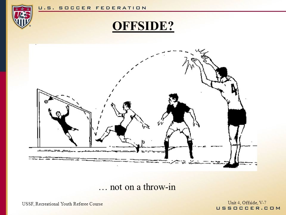 OFFSIDE … not on a throw-in Unit 4, Offside, V-7