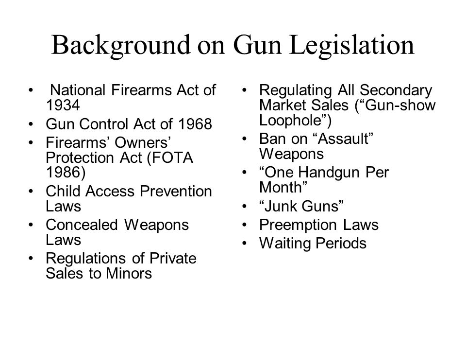 Background on Gun Legislation