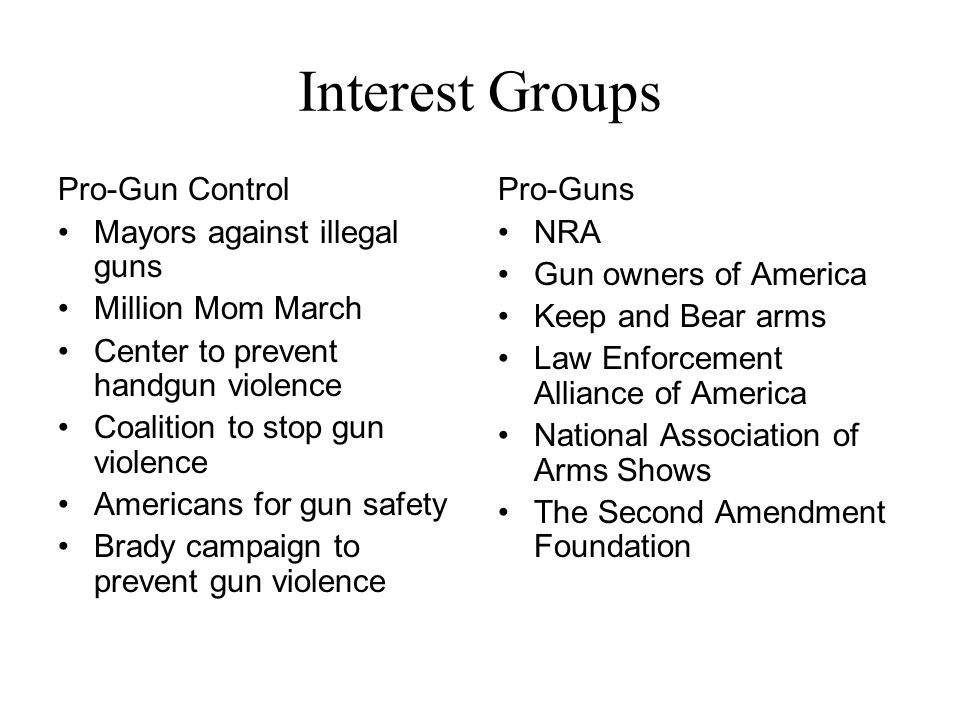 Interest Groups Pro-Gun Control Mayors against illegal guns