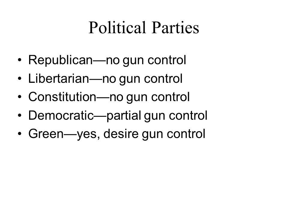 Political Parties Republican—no gun control Libertarian—no gun control