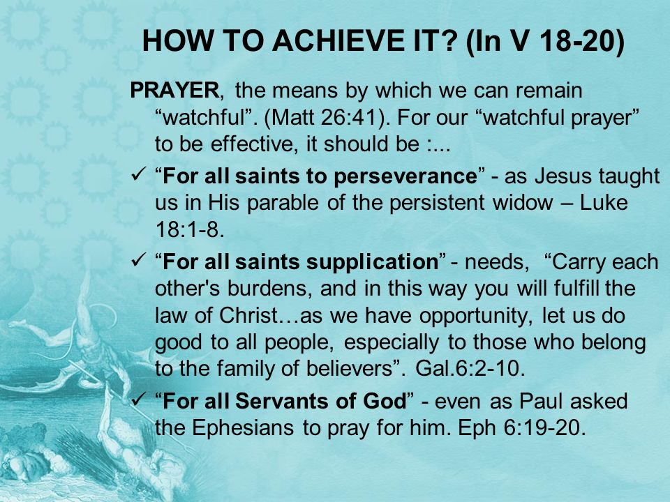 HOW TO ACHIEVE IT (In V 18-20)
