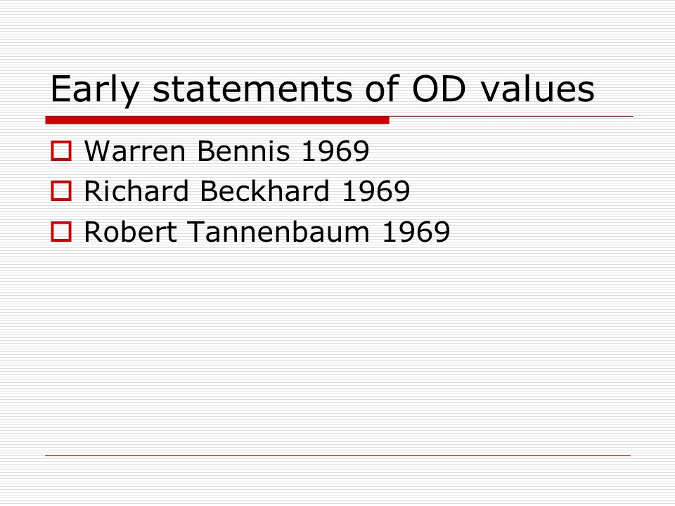 Early statements of OD values