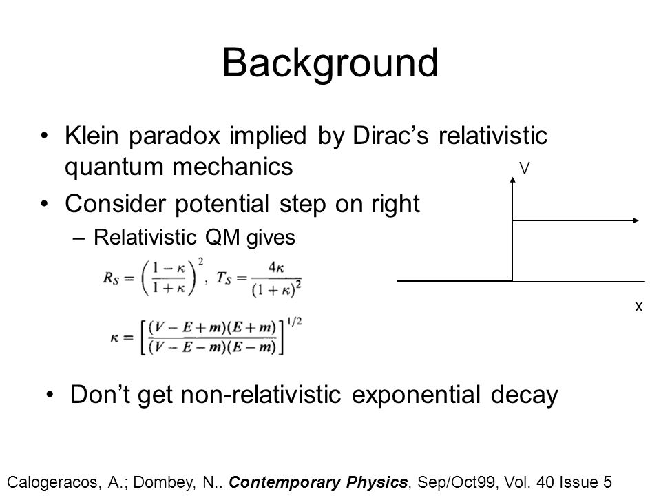 Background Klein paradox implied by Dirac's relativistic quantum mechanics. Consider potential step on right.