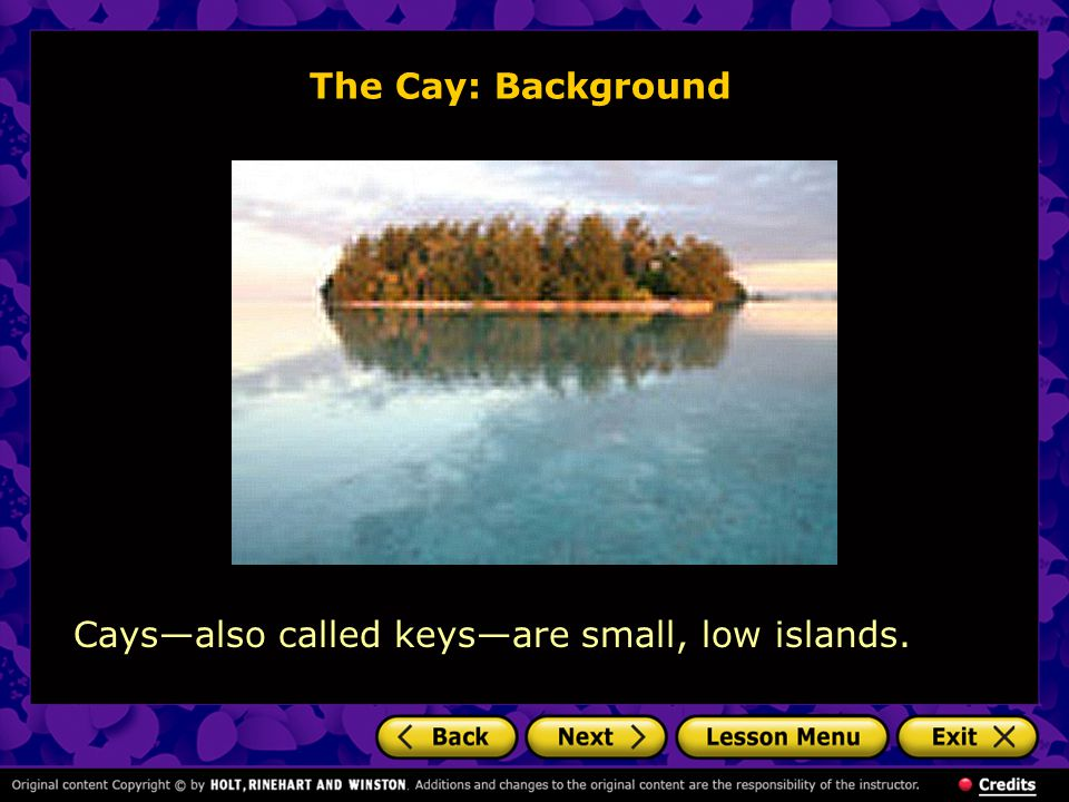 The Cay: Background Cays—also called keys—are small, low islands.
