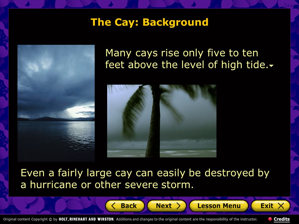 The Cay: Background Many cays rise only five to ten feet above the level of high tide.