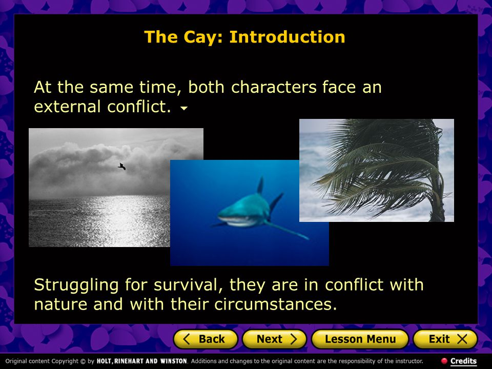 The Cay: Introduction At the same time, both characters face an external conflict.