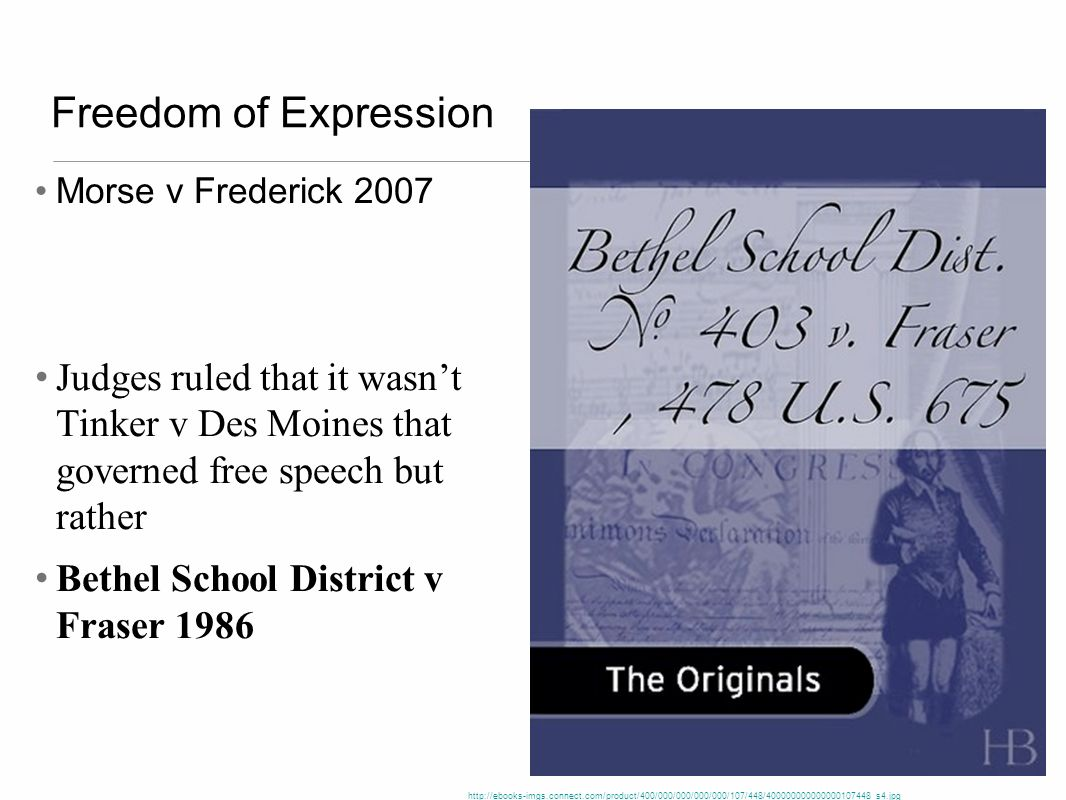 Freedom of Expression Morse v Frederick 2007. Judges ruled that it wasn't Tinker v Des Moines that governed free speech but rather.