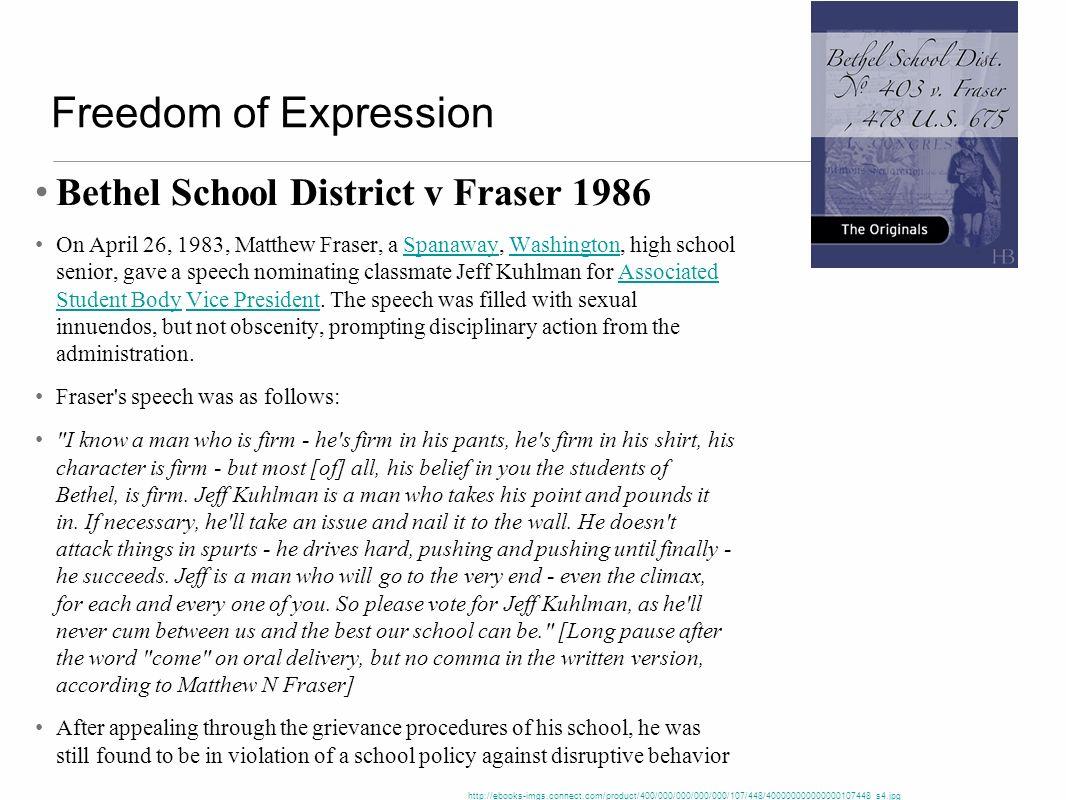 Freedom of Expression Bethel School District v Fraser 1986
