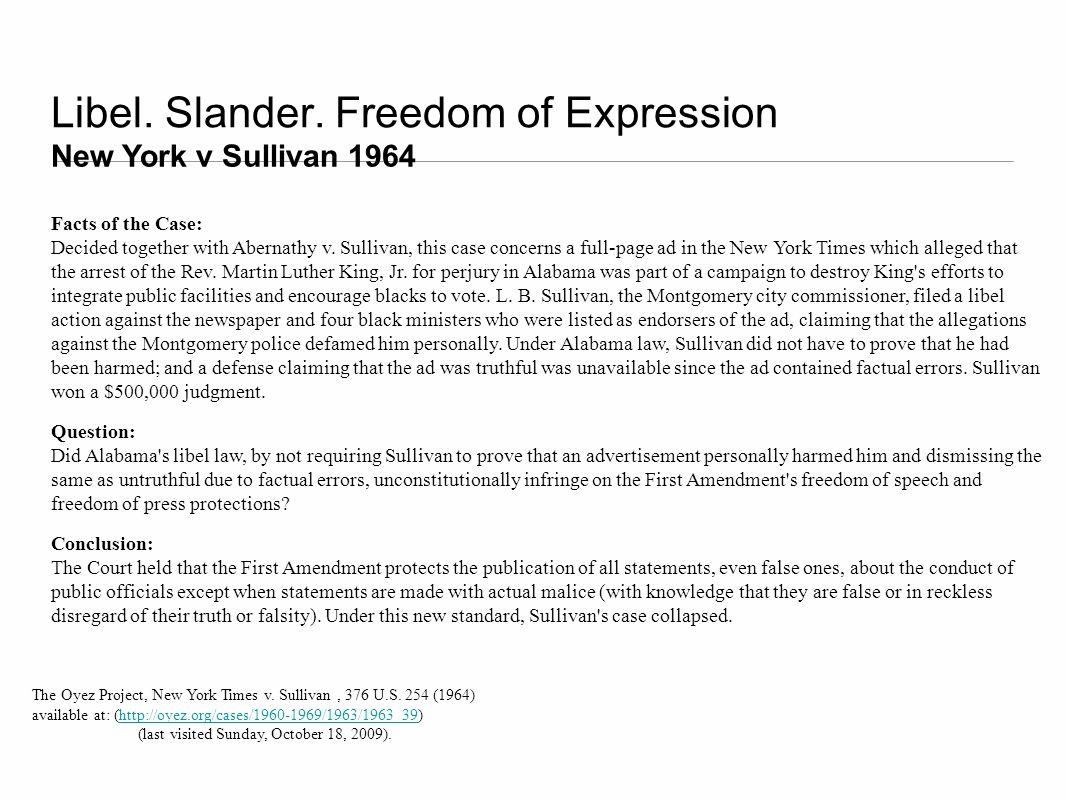 Libel. Slander. Freedom of Expression