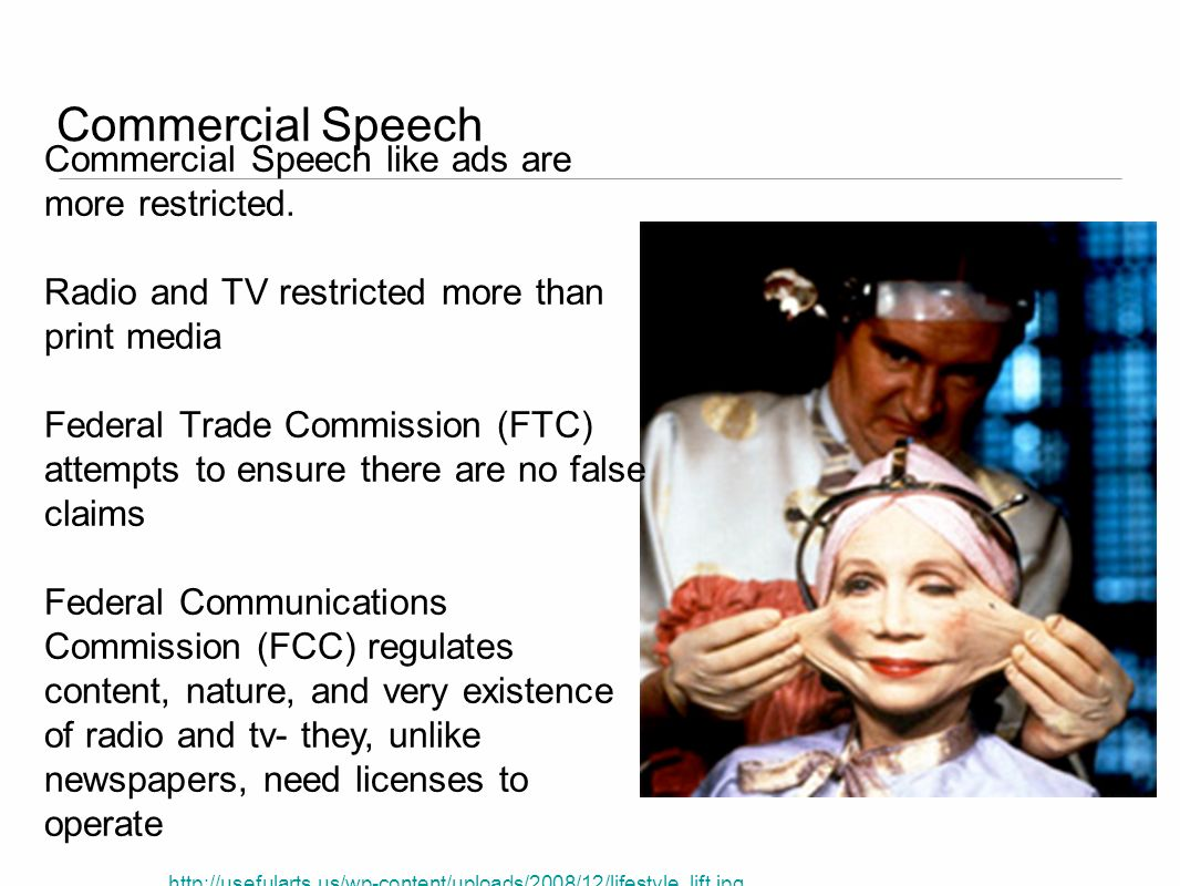 Commercial Speech Commercial Speech like ads are more restricted.