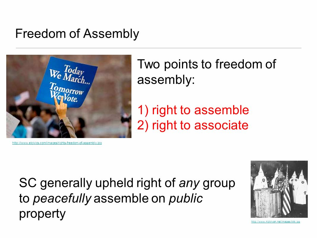 Two points to freedom of assembly: