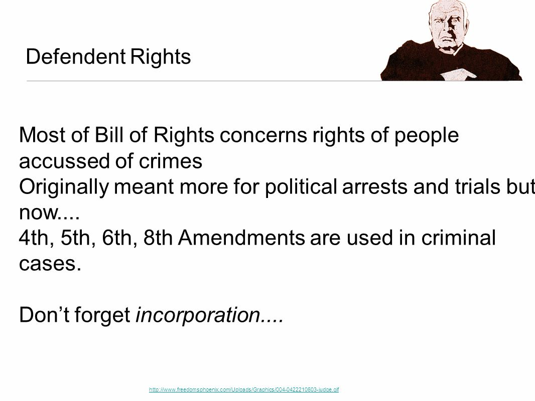 Most of Bill of Rights concerns rights of people accussed of crimes