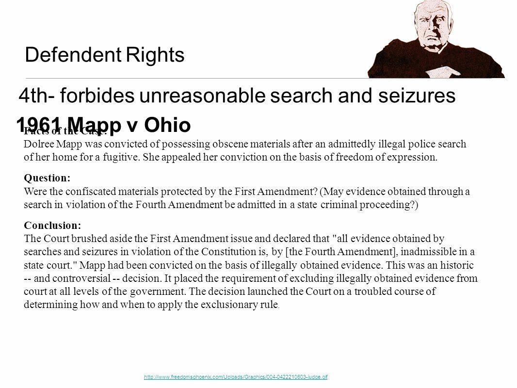 4th- forbides unreasonable search and seizures 1961 Mapp v Ohio