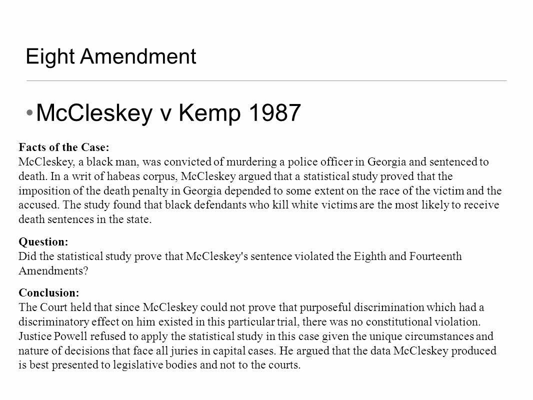 McCleskey v Kemp 1987 Eight Amendment Facts of the Case: