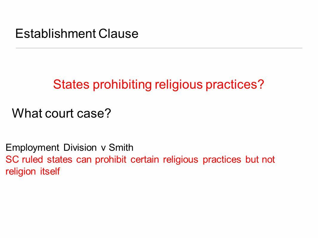 States prohibiting religious practices