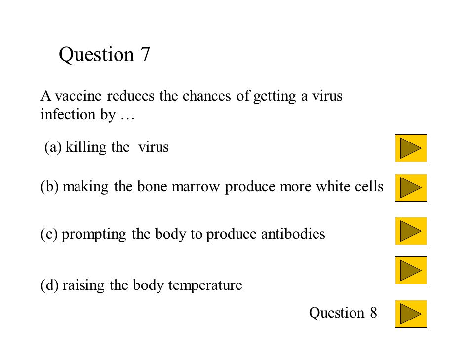 Question 7 A vaccine reduces the chances of getting a virus infection by … (a) killing the virus.