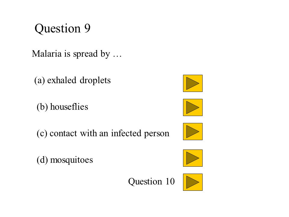 Question 9 Malaria is spread by … (a) exhaled droplets (b) houseflies