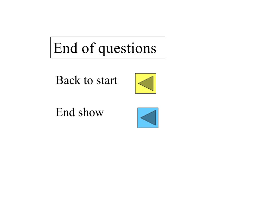 End of questions Back to start End show