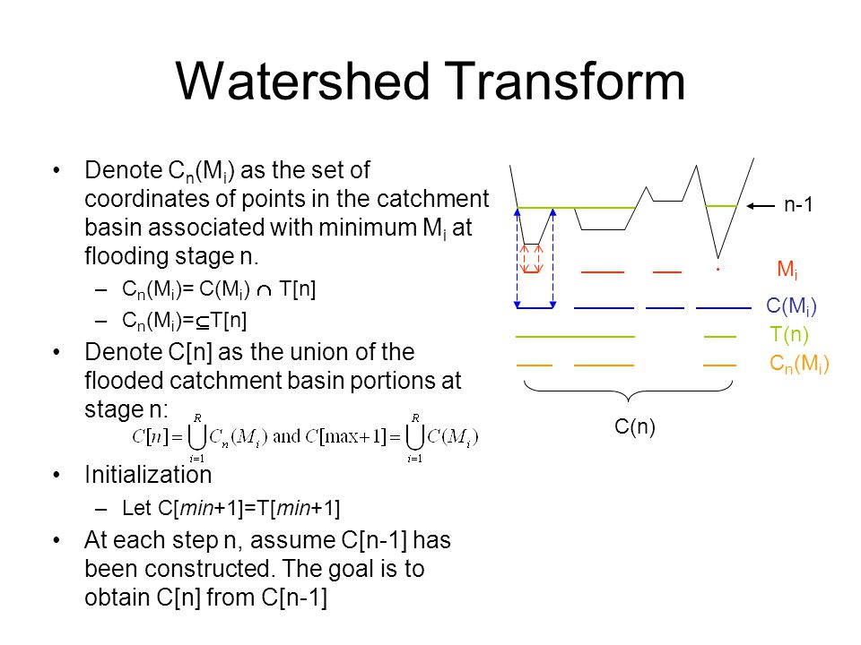 Watershed Transform Denote Cn(Mi) as the set of coordinates of points in the catchment basin associated with minimum Mi at flooding stage n.
