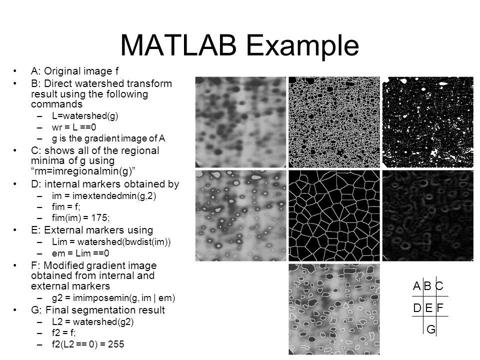 MATLAB Example A B C D E F G A: Original image f
