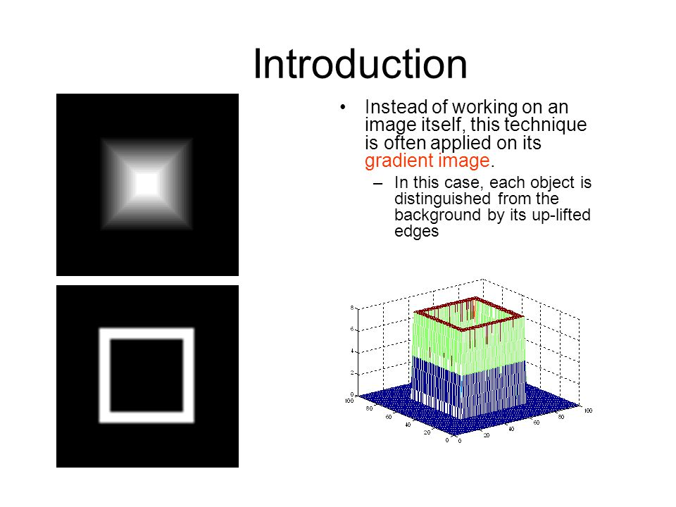 Introduction Instead of working on an image itself, this technique is often applied on its gradient image.