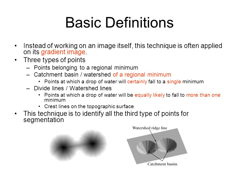 Basic Definitions Instead of working on an image itself, this technique is often applied on its gradient image.