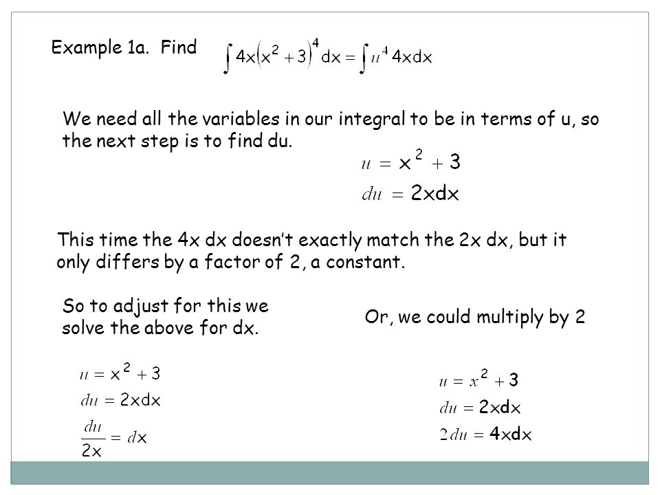 Example 1a. Find We need all the variables in our integral to be in terms of u, so the next step is to find du.