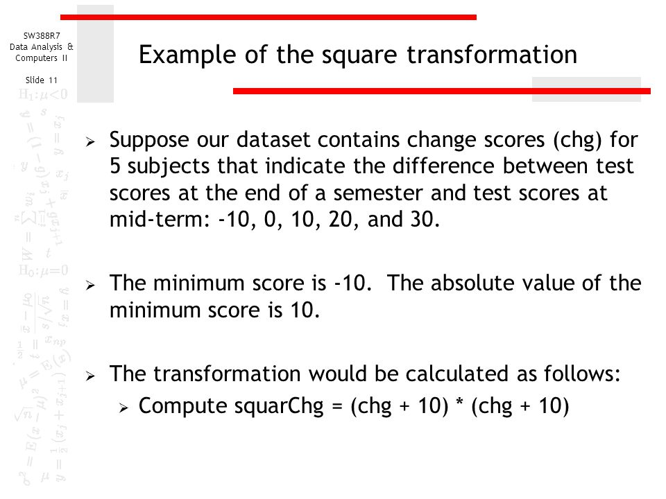Example of the square transformation