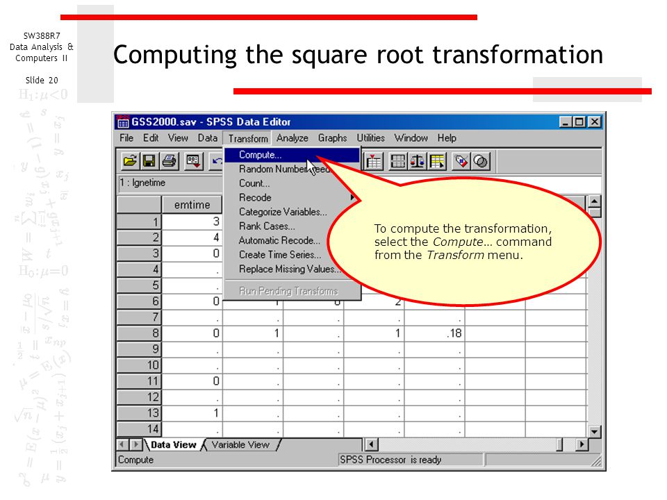 Computing the square root transformation