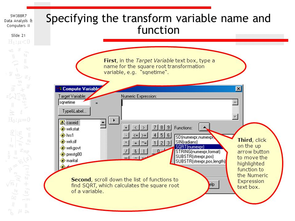 Specifying the transform variable name and function