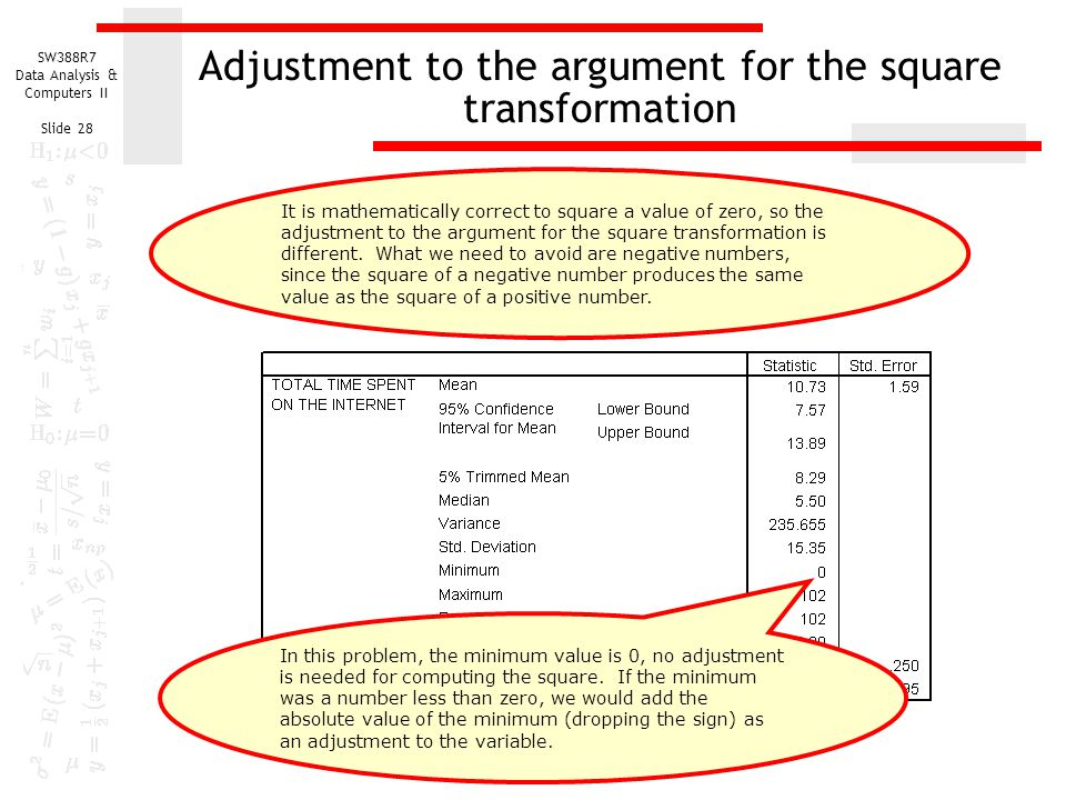 Adjustment to the argument for the square transformation