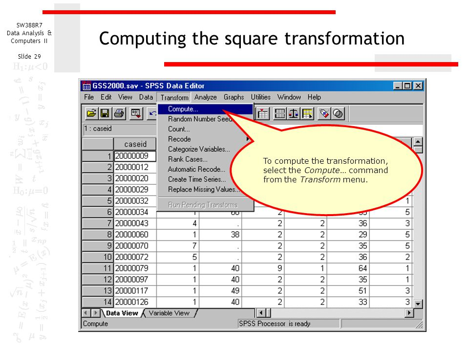 Computing the square transformation