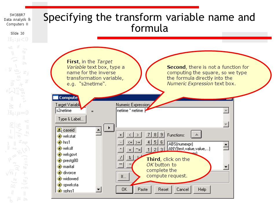 Specifying the transform variable name and formula